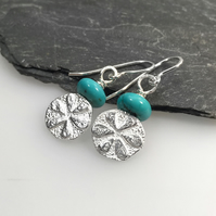 Sterling silver and turquoise Flower earrings