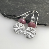 Sterling silver and lepidolite Flower earrings