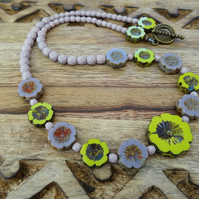 Pansy Necklace, Floral Necklace, Czech Glass Necklace, Rustic Necklace.