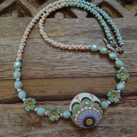 Ceramic and Czech Glass Necklace,Pansy Necklace, Pastel Green Necklace.