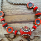 Ceramic Necklace, Czech Glass Necklace, Red Necklace, Unique Necklace, Handmade