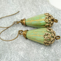 Tear Drop Earrings, Czech Glass Earrings, Green Earrings, Filigree Bead Caps