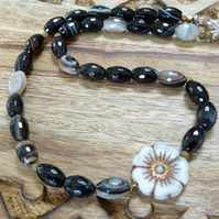 Faceted Agate Necklace, Floral Necklace, Black Necklace, Brown, Grey Necklace.