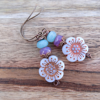 Pansy Earrings, Pastel Earrings, Czech Glass Earrings, Floral Earrings