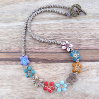 Daisy Necklace, Floral Necklace, Czech Glass Necklace, Multicoloured Necklace.