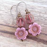 Pink Earrings, Rose Coloured Earrings, Pansy Earrings, Unique Earrings.