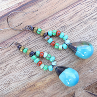 Ceramic Earrings, Czech Glass Earrings, Turquoise Earrings, Boho Earrings.