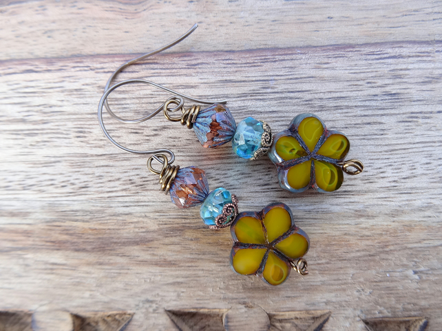 Czech Glass Earrings, Floral Earrings,Mustard Earrings,Aqua Earrings, Handmade.