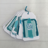 6 Gift Tags Collage Aqua Turquoise Paper White Card Handmade 4.5x2.5 inches