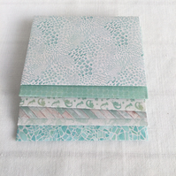 6 Small Envelopes Handmade with Under Sea Green Aqua Theme 4x3 inches