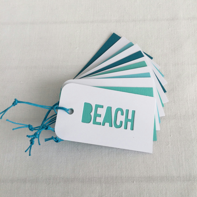 6 Journal Planner or Gift Tags Turquoise Teal White Beach Surf Sand  3.5x2 inch
