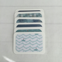 6 Mini Journal Note cards  Boats & Sea Shades of Blue aprox 3.5 x 2.5