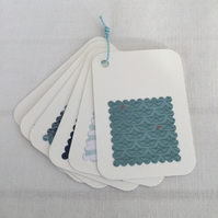 6 Handmade Gift Tags with Sea & Boats Cream with Aqua Navy Red aprox 2.5 x 3.5