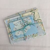 11 Mini Small Envelopes Made from Vintage Road Map of Scotland Various Sizes