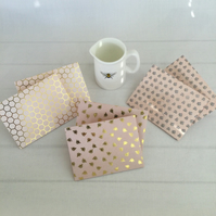 6 Gold Bees Honeycomb & Flower Lovers Envelopes Pale Pink aprox 3x4 inches