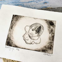 Looking Up, Nursery Decor print, cute girl