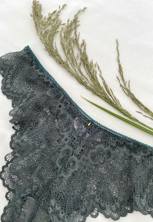 Handmade sage green scallop lace brazilian knicker
