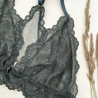 Handmade sage green scallop lace and bamboo jersey racerback bra