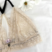 Handmade floral cream lace and bamboo jersey racerback bra