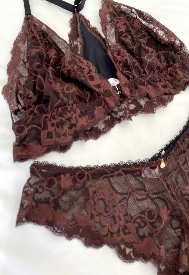 Handmade chocolate brown lace and bamboo jersey lingerie set