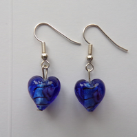 Blue Heart Earrings, Heart Earrings