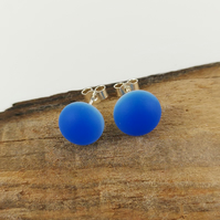 Blue glass stud earrings, fused glass, sterling silver fittings