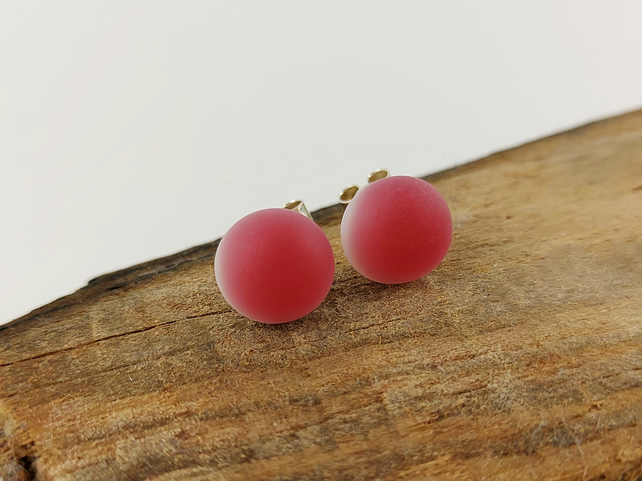 Raspberry pink stud earrings, fused glass, sterling silver fittings