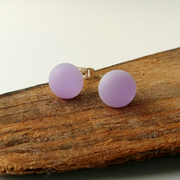 Lilac stud earrings, fused glass, sterling silver fittings