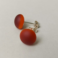 Flame red stud earrings, fused glass, sterling silver fittings