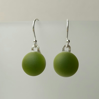 Apple green glass drop earrings, sterling silver earwires