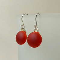 Flame Red drop earrings, fused glass, sterling silver earwires