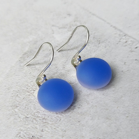 Periwinkle blue glass drop earrings