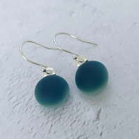 Sea blue glass drop earrings, sterling silver earwires