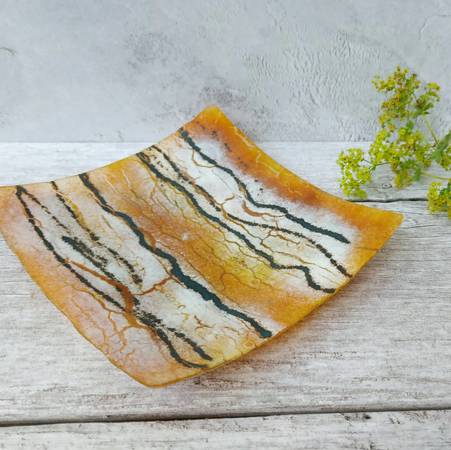 White Poplar Art Glass Dish