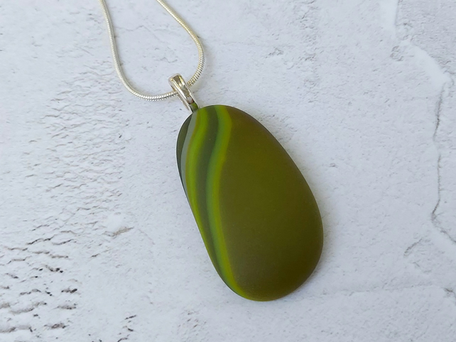 Olive green glass pebble pendant