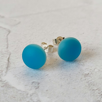 Turquoise glass stud earrings with sterling silver fittings