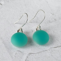 Aqua matt glass drop earrings