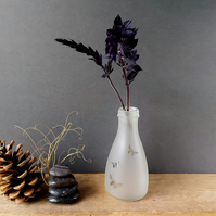 Butterfly bud vase, etched recycled bottle vase