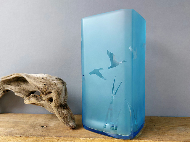 Blue recycled bottle vase, etched glass vase with flying geese design