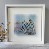 Grasses framed art glass panel