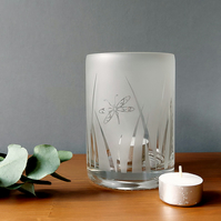 Recycled bottle tealight holder, etched clear glass with dragonfly design