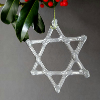 Star of David, recycled glass Christmas decoration