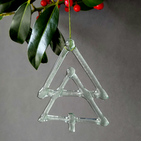 Recycled glass Christmas tree decoration