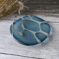 Deep Blue Fused Glass Dish, sea glass inspired