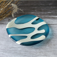 Turquoise Glass Trinket Dish, sea glass effect