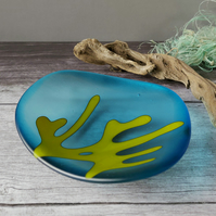 Fused glass bowl in transparent turquoise