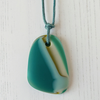 Teal Glass Pebble adjustable pendant necklace