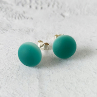 Teal stud earrings, fused glass with sterling silver fittings