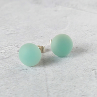 Seafoam stud earrings, fused glass with sterling silver fittings