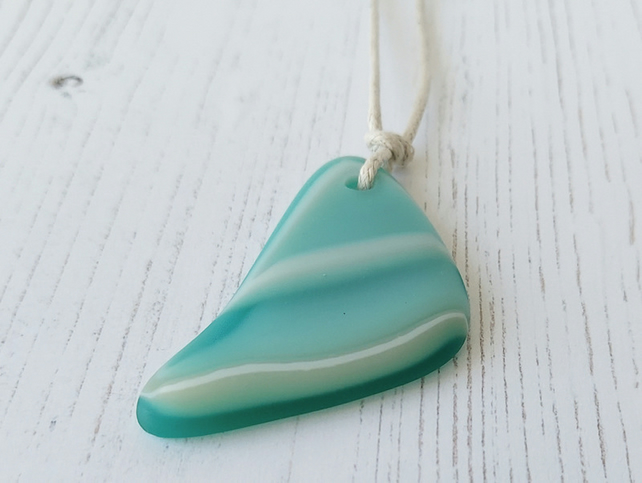 Seafoam fused glass adjustable pendant necklace